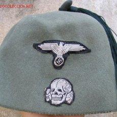 Militaria: FEZ VERDE DE LAS WAFFEN-SS. CON DISTINTIVOS BEVO DE ÁGUILA Y CALAVERA. RMAR06.45. Lote 10608054