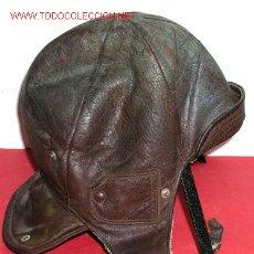 Militaria: GORRO PILOTO-MOTORISTA ANTIGUO DE PIEL . Lote 2559022