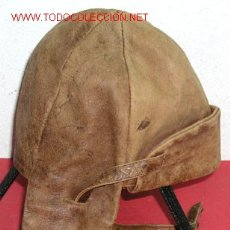 Militaria: GORRO PILOTO-MOTORISTA ANTIGUO DE PIEL . Lote 2559041