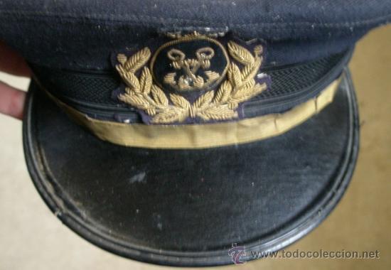 Militaria: Gorra plato de Marina Mercante con corona - Foto 4 - 26608572