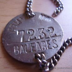 Militaria: CHAPA DE IDENTIFICACIÓN COMPAÑÍA MARÍTIMA DE BALEARES. NUMERADA 7232. Lote 27007765