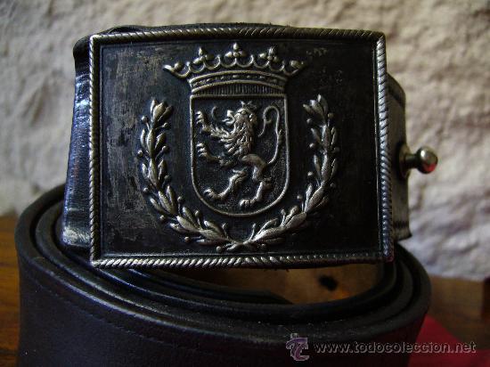 Militaria: Cinturón, hebilla de gala y banda bordada de la policia municipal de Zaragoza época Franco - Foto 4 - 26736994