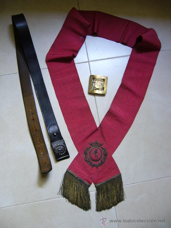 Militaria: Cinturón, hebilla de gala y banda bordada de la policia municipal de Zaragoza época Franco - Foto 8 - 26736994