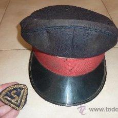 Militaria: ANTIGUA GORRA DE PLATO ESPAÑOLA, CON GALLETA BORDADA S A. VIGILANTE SEGURIDAD ?. Lote 28589168