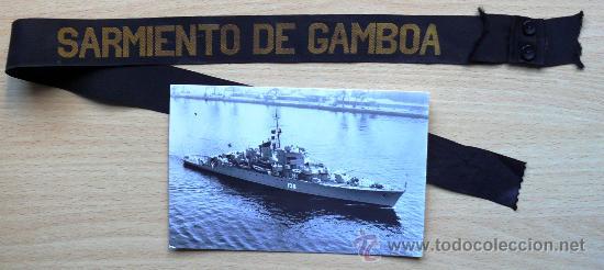 ARMADA ESPAÑOLA. CINTA LEPANTO. FRAGATA SARMIENTO DE GAMBOA (F36) + FOTO ORIGINAL DEL BUQUE (Militar - Otros relacionados con uniformes )