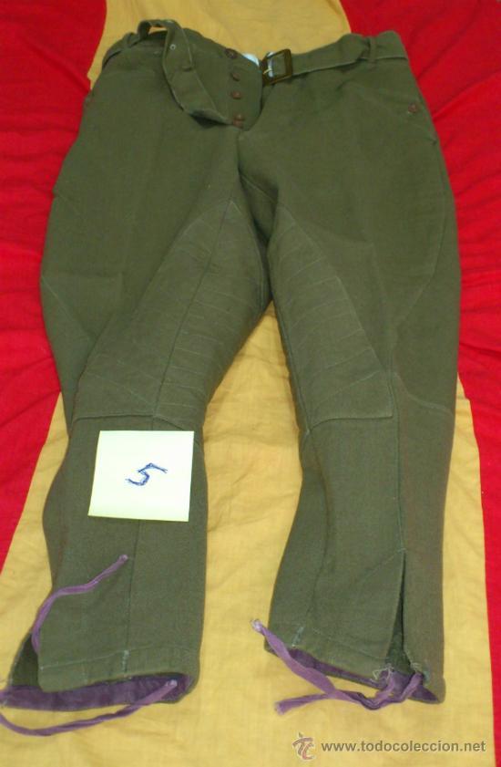 PANTALON VERDE-KAKI DE MONTAR TIPO BRECHES, DECADA AÑOS 50, CON CINTURON (Militar - Cinturones y Hebillas )