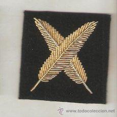 Militaria: DOS BORDADOS DISTINTIVOS ARMADA ESPAÑOLA ESCRIBIENTE EN CANUTILLO ORO. Lote 57619046