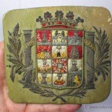 Militaria: MAGNIFICA HEBILLA DE CINTURÓN. AÑOS 30. ESCUDO PROVINCIA DE CADIZ. SEDA BORDADA EN HILO DE PLATA.. Lote 40205498