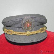 Militaria: ANTIGUA GORRA DE PLATO GRIS CON ESCUDO BORDADO EN DE CONSERVACION, TIENE 53 CMS. DE PERI. Lote 38281294