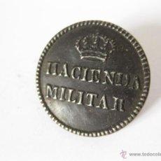 Militaria: ANTIGUO BOTON DE CASCARILLA DE HACIENDA MILITAR - 23 MM. Lote 43048075