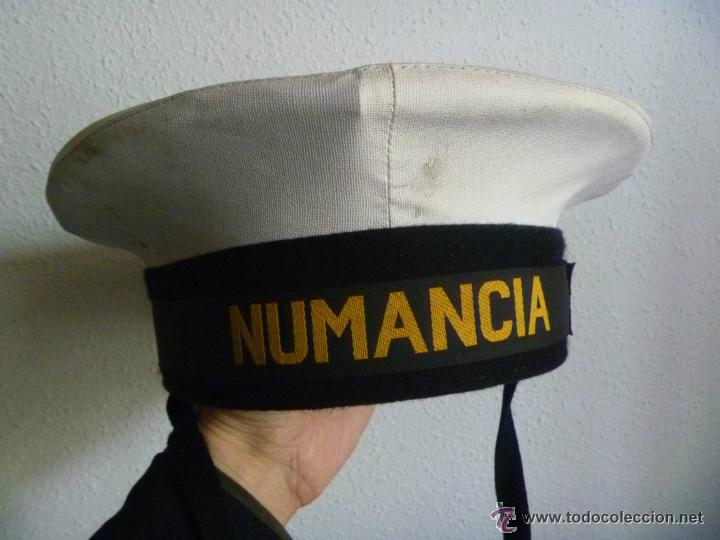 MARINA: LEPANTO DE LA ARMADA ESPAÑOLA , CINTA : NUMANCIA ....... CON BARBOQUEJO . TALLA 60 (Militar - Boinas y Gorras )