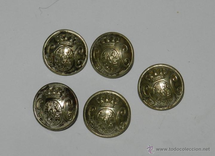 5 BOTONES GUARDIA CIVIL, MIDEN 2,2 CMS. (Militar - Botones )