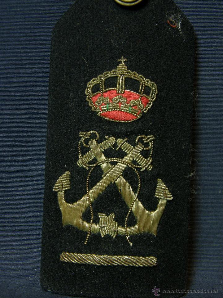 Militaria: hombrera uniforme militar corona real anclas cruzadas bordadas botón fieltro azul Marina - Foto 5 - 44372807