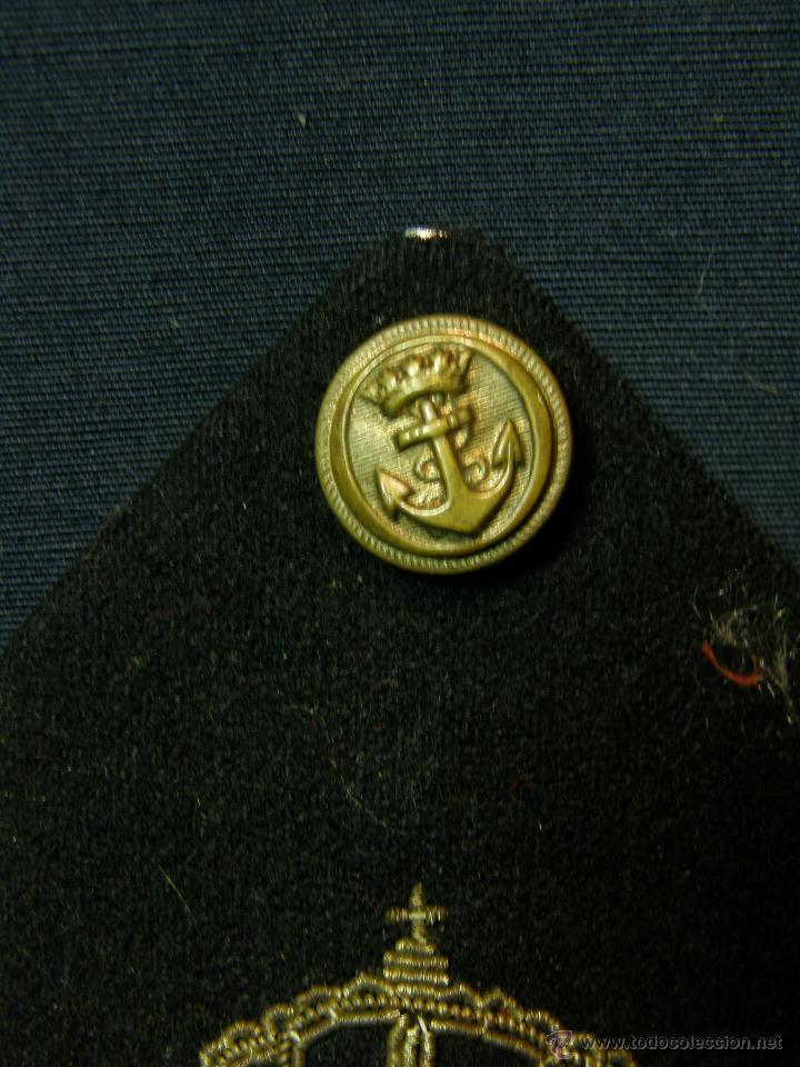 Militaria: hombrera uniforme militar corona real anclas cruzadas bordadas botón fieltro azul Marina - Foto 7 - 44372807