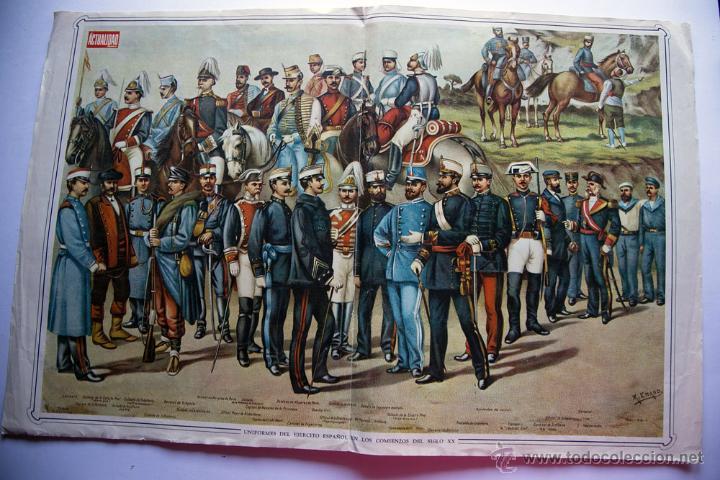 ANTIGUO POSTER UNIFORMES DEL EJERCITO ESPAÑOL EN LOS COMIENZOS DEL SIGLO XX ÉPOCA ALFONSO XIII (Militar - Otros relacionados con uniformes )