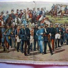 Militaria: ANTIGUO POSTER UNIFORMES DEL EJERCITO ESPAÑOL EN LOS COMIENZOS DEL SIGLO XX ÉPOCA ALFONSO XIII. Lote 44973441