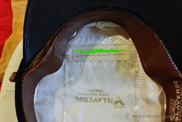 Militaria: GORRA TENIENTE CORONEL DE INFANTERIA DE MARINA ESPAÑOLA, GALLETA y DIVISAS bordadas hilo oro, - Foto 10 - 90885487