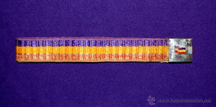 CINTURON REPUBLICANO. ORIGINAL DE LA SEGUNDA REPUBLICA 1931-36. HEBILLA BANDERA TRICOLOR. (Militar - Cinturones y Hebillas )