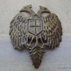 Militaria: ANTIGUA PLACA DE BRONCE AGUILA BICEFALA DE CASCO - RARA -. Lote 45533465
