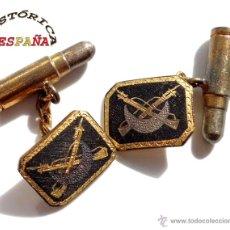 Militaria: GEMELOS DE REGULARES ÉPOCA DE FRANCO, TRABAJO DAMASQUINADO. Lote 46317782