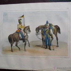 Militaria: 1853 CROMOLITOGRAFIA DE LANCERO Y HUSAR EN 1844. Lote 48820632