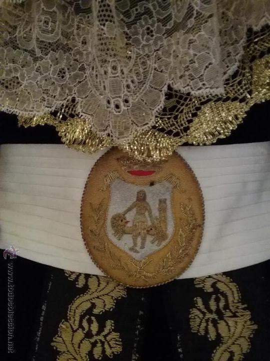 Militaria: antiguo fajin fagin bordado oro canutillos escudo hercules ayuntamiento de cadiz , lazo plisado - Foto 5 - 50036162