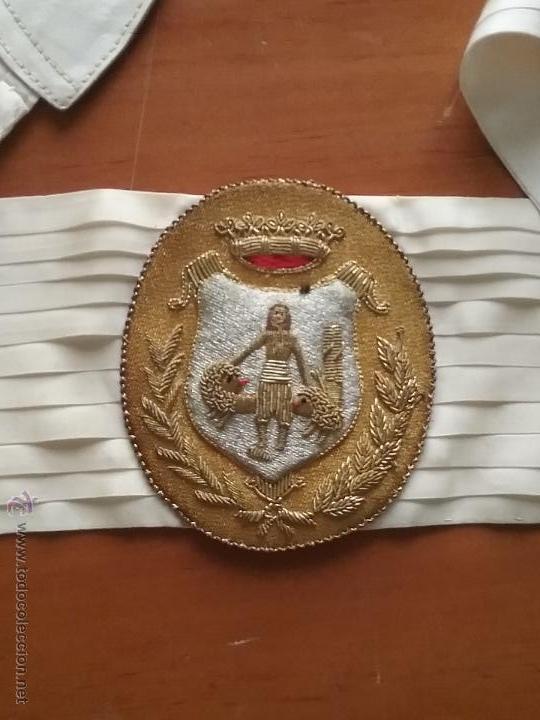 Militaria: antiguo fajin fagin bordado oro canutillos escudo hercules ayuntamiento de cadiz , lazo plisado - Foto 9 - 50036162