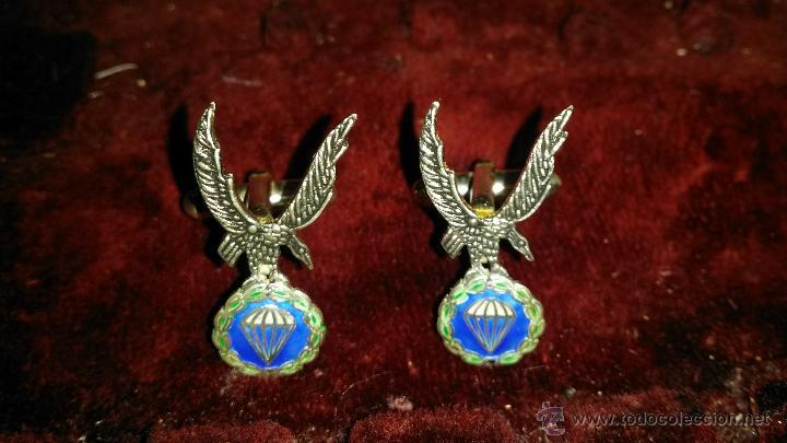 GEMELOS EN PLATA DE LEY ESMALTADOS DE GRAN CALIDAD BRIGADA PARACAIDISTA (Militar - Otros relacionados con uniformes )