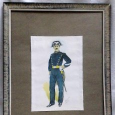 Militaria: SARGENTO SEGUNDO CON UNIFORMÉ DE MEDIA GALA 1862-.LAMINA MILITAR ENMARCADA.. Lote 31356699