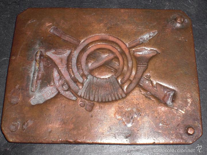 Militaria: Rara hebilla pesada de cobre de infanteria guerra civil - Foto 2 - 56050738