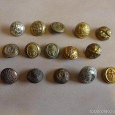 Militaria: LOTE 15 BOTONES ANTIGUOS VARIADOS DE ALFONSO XIII, GRANDES, BOTON. Lote 57215333
