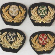 Militaria: 4 ESCUDOS DE GORRA OFICIAL MNA.MTE. SOBRECARGO, MÁQUINAS, RADIO Y MÉDICO. Lote 57479444