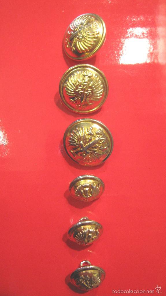 ANTIGUOS BOTONES ET. : 3 GUERRERA + 3 BOCAMANGA. MUY BUEN ESTADO (Militar - Botones )