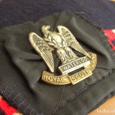 Militaria: MUY ANTIGUO GLENGARRY O GORRO ESCOCÉS DE LOS ROYAL SCOTS GREYS. EMBLEMA AGUILA CON LEMA WATERLOO.. Lote 72217123