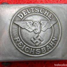 Militaria: REPRO - HEBILLA DEUTSCHE REICHSBAHN/BAHNSCHUTZ EM/NCO'S BELT BUCKLE. FERROCARRIL. DIM: 63 X 43 MM. Lote 136370897