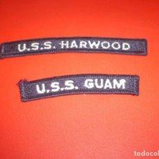 Militaria: LOTE DE 2 INSIGNIA U.S.S. HARWOOD Y U.S.S.GUAM MARINA DE LOS ESTADOS UNIDOS.. Lote 73510495