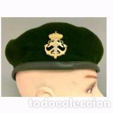 Militaria: ESTUPENDA BOINA VERDE DE INFANTERIA DE MARINA FGNE CON EMBLEMA METALICO EN DORADO Y COLOR PLATA. Lote 79667146