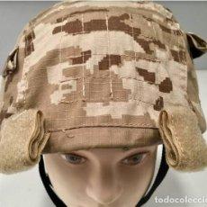Militaria: ESTUPENDA FUNDA DE CASCO EN COLOR ARIDO PIXELADO CON VELCRO. Lote 109686874
