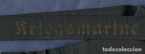 Militaria: Alemania III Reich. Cinta de gorra o lepanto de la Kriegsmarine. 2ª Guerra Mundial. - Foto 2 - 98215799