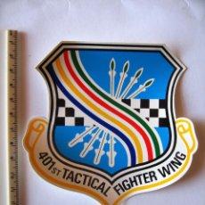 Militaria: ADESIVO USAF, BASE TORREJON, DISUELTA EN 1992, 401 T F WING , PEQUEÑO, COLORES VIVOS. Lote 223304033