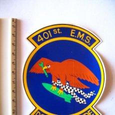 Militaria: ADESIVO USAF, BASE TORREJON, DISUELTA EN 1992, 401 ST E.M.S., PEQUEÑO, COLORES VIVOS. Lote 216616541
