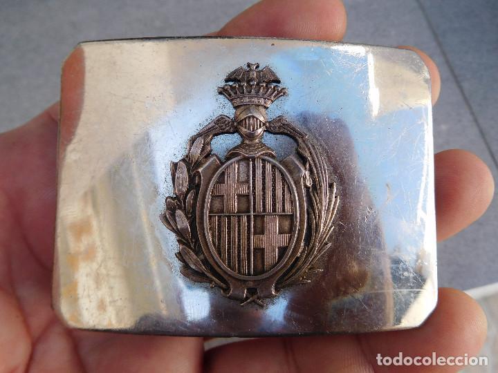 HEBILLA DE CINTURÓN DE LA GUARDIA URBANA DE BARCELONA ÉPOCA ALFONSO XIII (Militar - Cinturones y Hebillas )