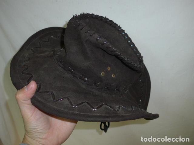 Militaria: Antiguo gorro o sombrero de tipo cowboy, del oeste, original. Moldeable. - Foto 3 - 104642891