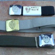 Militaria: LOTE DE 3 CEÑIDORES EJÉRCITO ESPAÑOL, AÑOS 70-80, COLOR AZUL AVIACIÓN, ARENA AÑOS 70 Y OLIVA AÑOS 80. Lote 110744563
