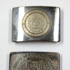 Militaria: SOMETENTS ARMATS DE CATALUNYA Y BARCELONA, 2 HEBILLAS DE CINTURÓN 5X7 CM.. Lote 111584679