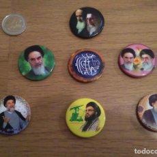 Militaria: LOTE 7 CHAPAS POLITICAS IRAN: JOMEINI, JAMEINI.... Lote 112154979