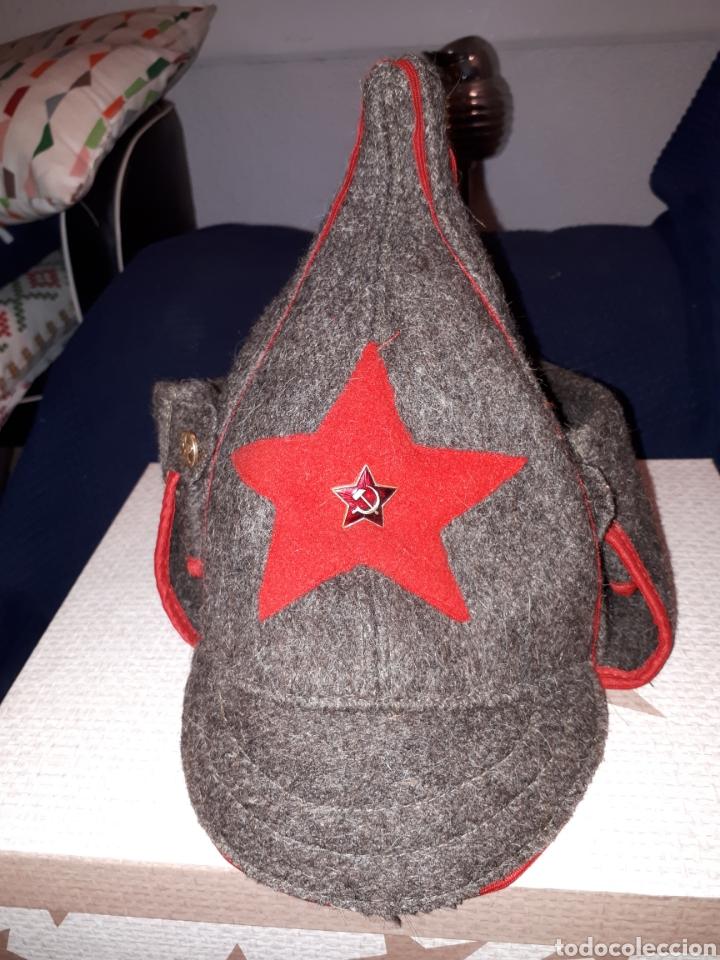 GORRO SOVIÉTICO BUDIKONOVA MILITAR DE INVIERNO CON INSIGNIA ORIGINAL (Militar - Boinas y Gorras )
