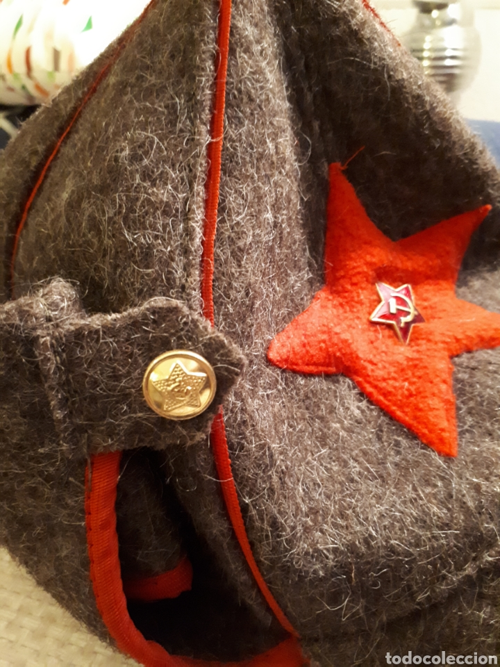 Militaria: Gorro soviético budikonova militar de invierno con insignia original - Foto 4 - 112824430