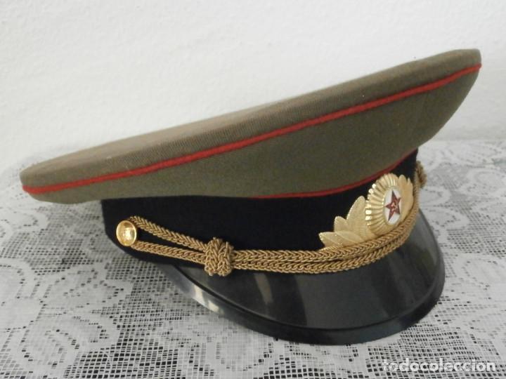 Militaria: Antigua gorra de uso militar soviética de oficial del ejercito rusa Unión Soviética URSS Rusia - Foto 2 - 113297035