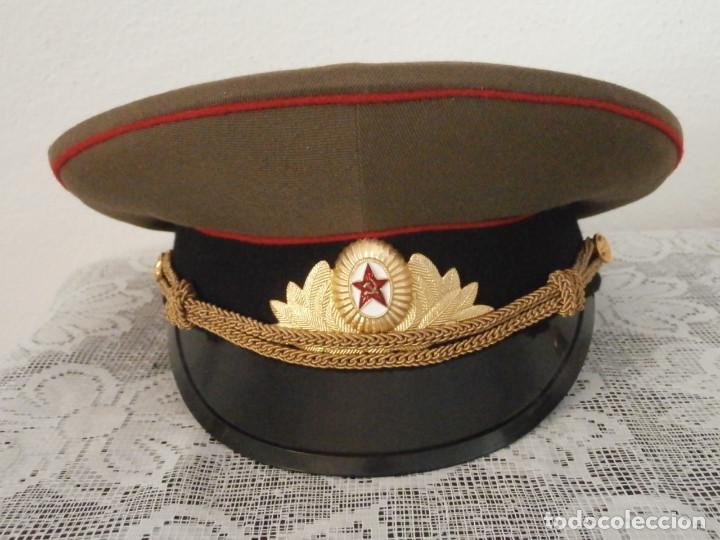 Militaria: Antigua gorra de uso militar soviética de oficial del ejercito rusa Unión Soviética URSS Rusia - Foto 3 - 113297035